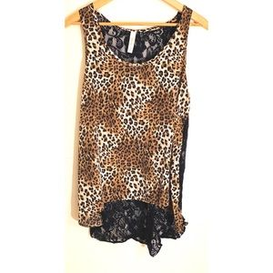 Leopard and Lace Hi Low Tank Top Sz M